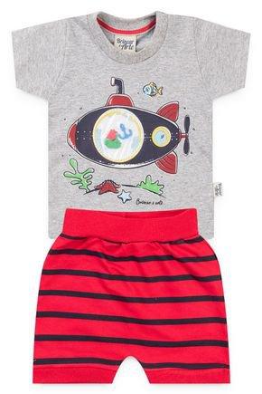6023 conjunto camiseta mescla meia malha e shorts pmg 1