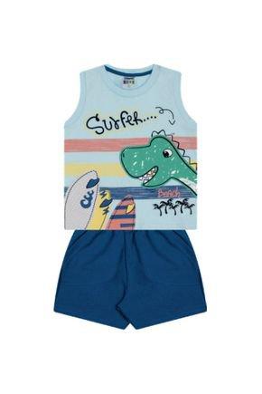 7360 azul conjunto infantil masculino regata dino dinosauro