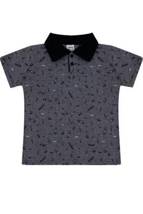 7386 mescla escuro camisa polo infantil masculina