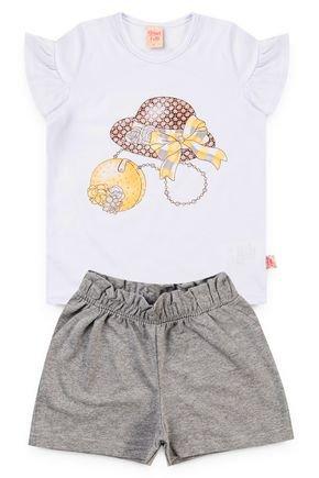 6224 conjunto blusa branco meia malha e shorts moletinho 46810 6