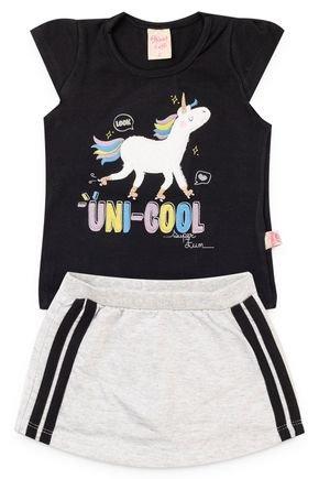 6197 conjunto blusa cotton e shorts saia moletinho 123 4