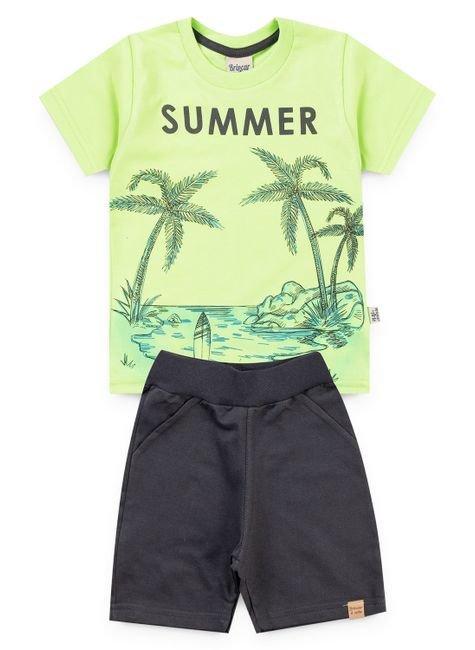 6040 conjunto camiseta verde lima meia malha e bermuda moletinho 123 1