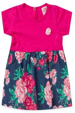 2054 pink vestido infantil feminino flores floral