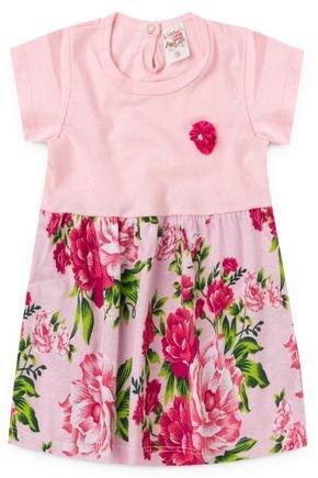 2054 rosa vestido infantil feminino flores floral
