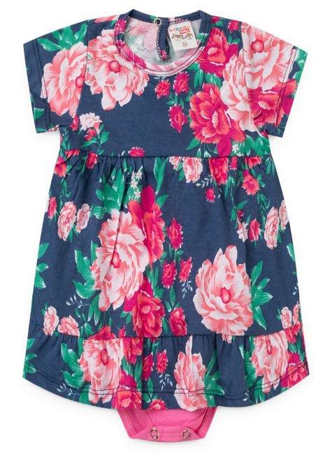 2055 azul vestido com body floral flores menina