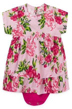 2055 rosa vestido com body floral flores menina
