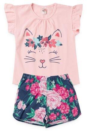 2060 rosa nude conjunto infantil femino gatinha flores floral 2