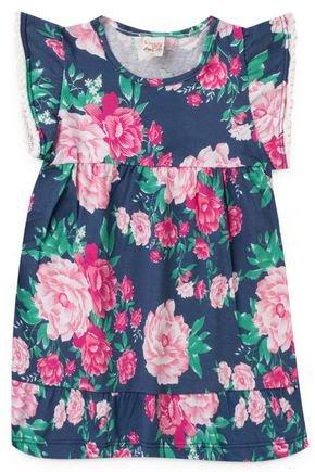 2061 azul vestido infantil floral flores