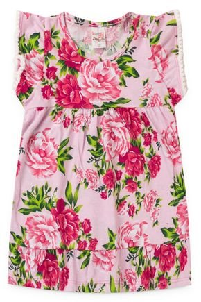 2061 rosa vestido infantil floral flores