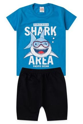 2063 azul conjunto infantil shark tubarao 2