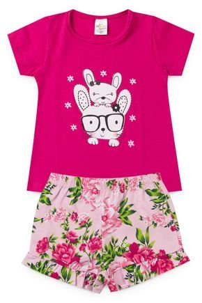 2098 pink conjunto infantil menina cachorrinho cachorro flores 2
