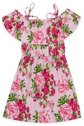 2119 rosa vestido infantil estampado floral flores