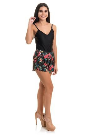 2388 short viscolycra estampada flores folhas animal print 7