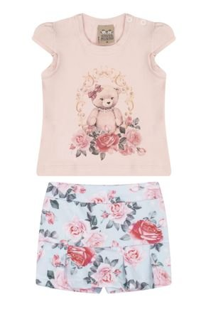 7408 rosa nuda conjunto infantil feminino ursinho