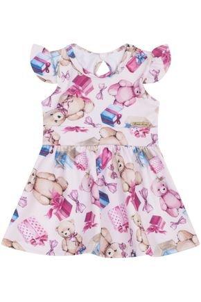 7413 rosa vestido infantil estampado ursinho
