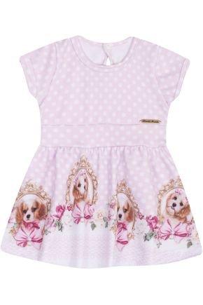 7410 lilas vestido infantil estampado cachorrinho