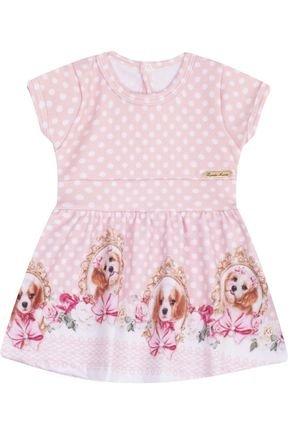 7410 rosa vestido infantil estampado cachorrinho