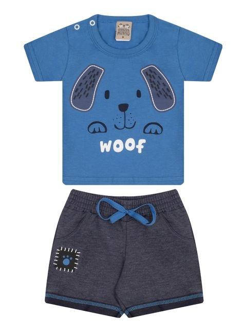 7431 azul conjunto infantil masculino dog cachorro