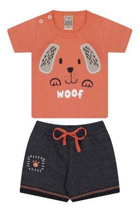 7431 laranja conjunto infantil masculino dog cachorro
