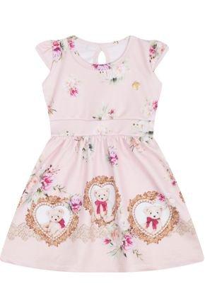 7447 rosa vestido infantil estampado ursinho