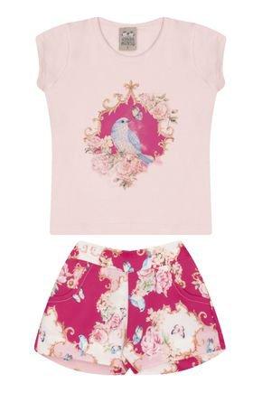 7453 rosa nude conjuto infantil feminino passaros blusa