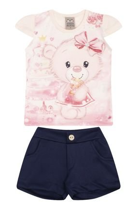 7455 cristal conjuto infantil feminino ursinho blusa
