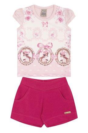 7459 rosa nude conjuto infantil feminino blusa
