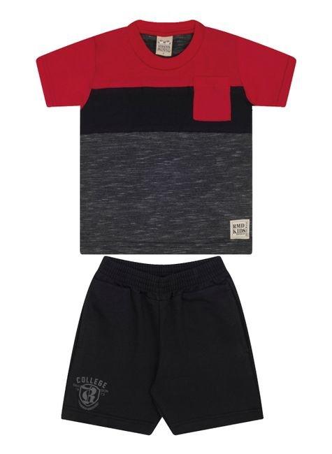 7488 vermelho conjunto infantil masculino com bolso moletom