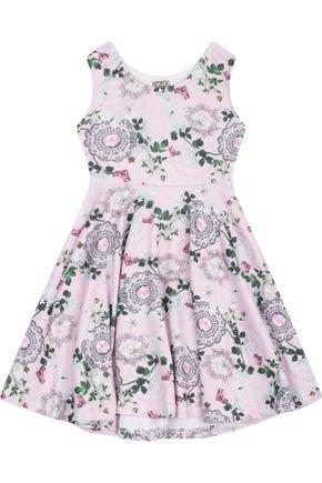 7546 rosa vestido infantil feminino estampado