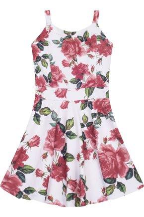 7548 branco vestido infantil feminino estampado floral