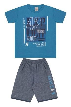 7584 azul ceu conjunto infantil masculino com bolso moletom