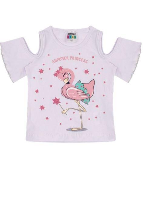7326 blusa infantil menina flamingo