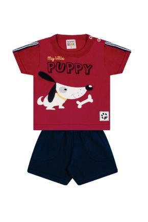 7316 vermelho cachorro conjuto infantil masculino