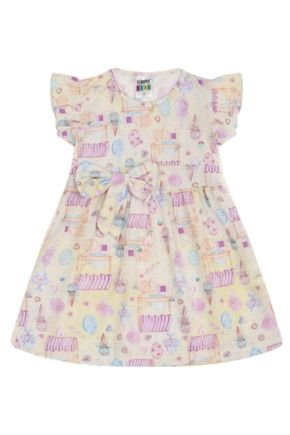 7341 amerelo vestido infantil menina com laco