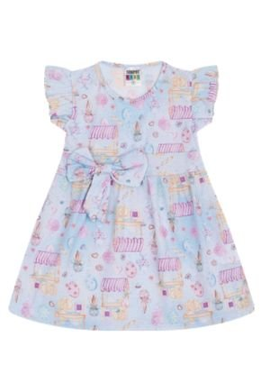 7341 azul vestido infantil menina com laco