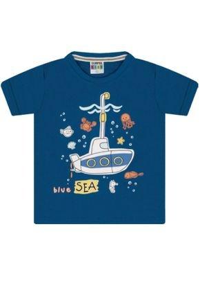 7344 azul camiseta intantil submarino