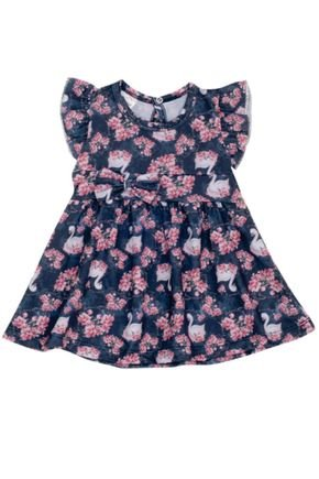 7311 azul vestido infantil flores e cisnei
