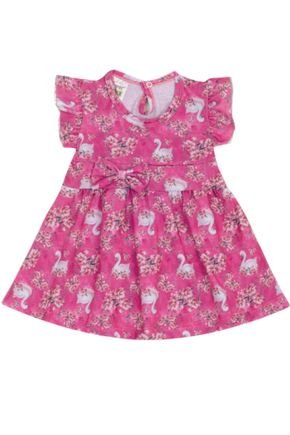 7311 pink vestido infantil flores e cisnei