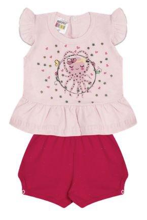 7301 rosa nude conjunto infantil feminino bermuda bombachinha