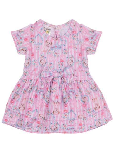 7312 rosa vestido infantil cachorrinho coracao