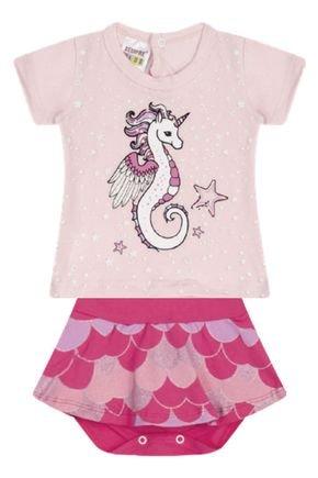 7304 rosa nude conjunto infantil feminino bermuda body saia