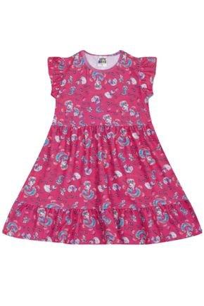 7377 pink vestido infantil com babados