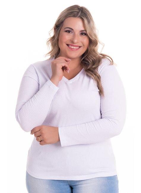 2274 2 blusa feminina em ribana canelada decote v plus size