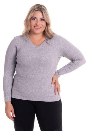 2274 4 blusa feminina em ribana canelada decote v plus size
