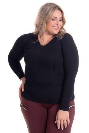 2274 6 blusa feminina em ribana canelada decote v plus size