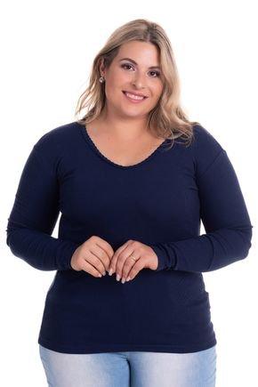 2303 1 3 blusa manga longa em ribana canelada 2x1 com renda plus size