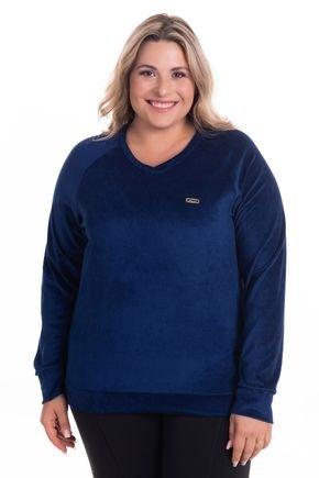 2520 2 blusa em plush decote v plus size