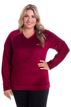 2520 4 blusa em plush decote v plus size