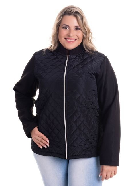 2521 1 jaqueta em matelasse dublado e mangas em la sintetica plus size