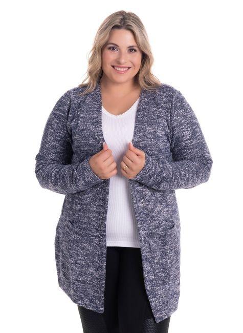 2522 2 casaco aberto com bolsos em malha tricot plus size